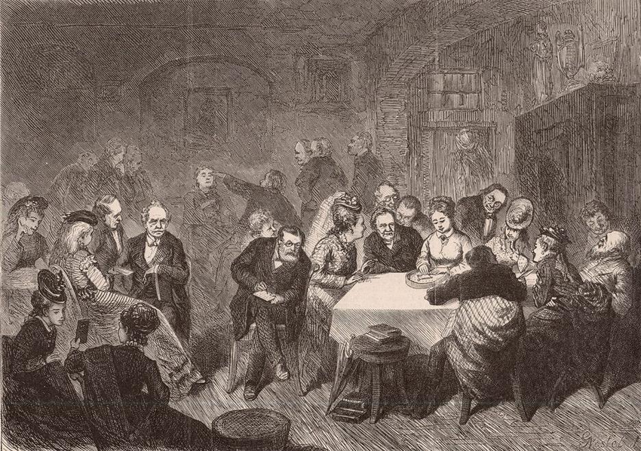 1877 Illustre Zeitung Magazine Psychograph talking board