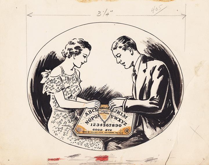 1936 William Fuld Couple playing ouija original artwork