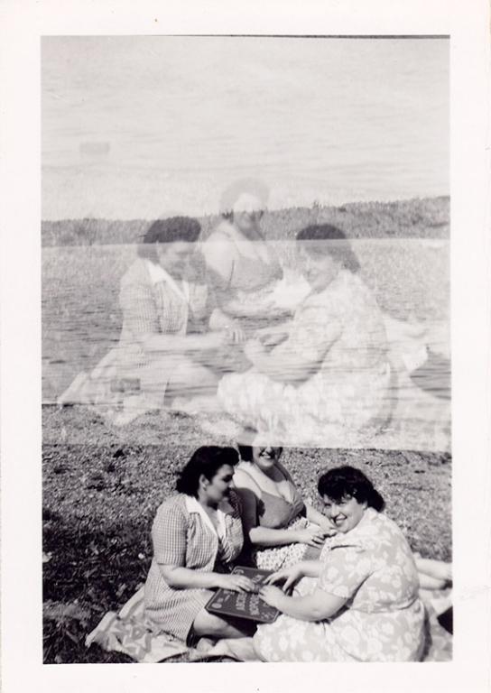 1940s Ladies Ouija picnic double exposure